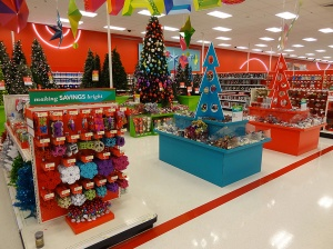 Christmas decorations at a Target store